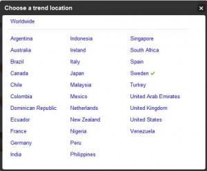 Trending topics countries