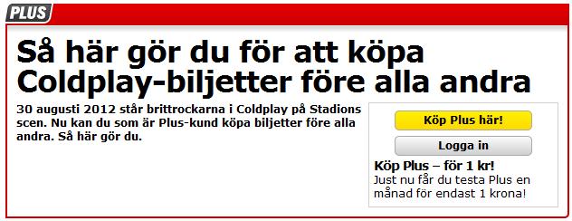 biljetter Coldplay Stadion Stockholm 30 augusti