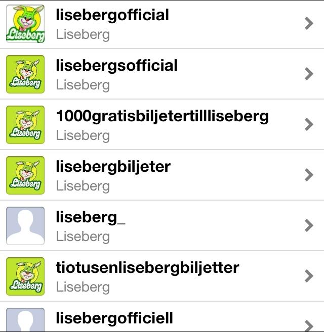Liseberg falska konton på Instagram