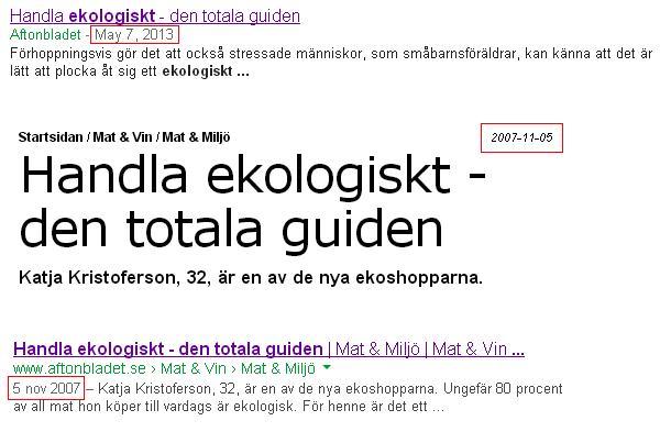 google datum sökresultat