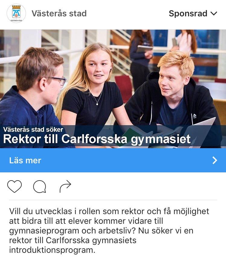 Annons Instagram nytt jobb