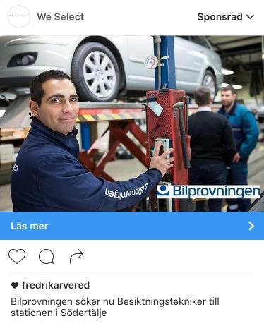 Annons Instagram jobb